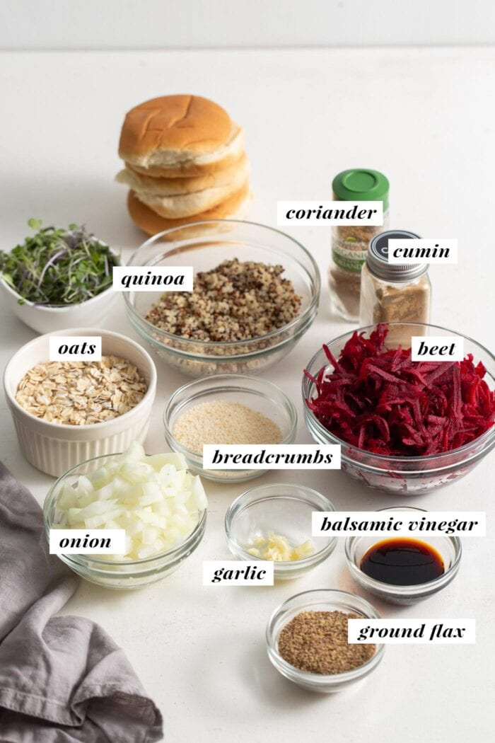 All the ingredients for making beet quinoa burgers in bowls, labeled with text overlay.