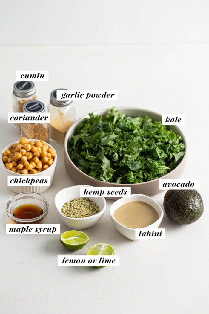 Visual of ingredients for a chickpea avocado kale salad labelled with text overlay.