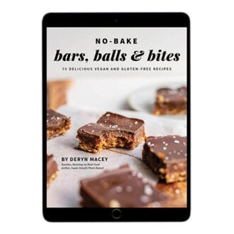 eBook cover on an ipad for No-Bake Bars, Balls and Bites.