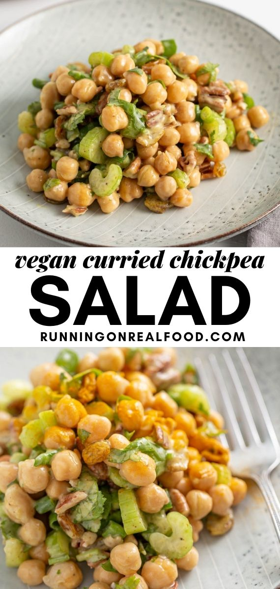 Pinterest graphic with an image and text for curried chickpea salad.