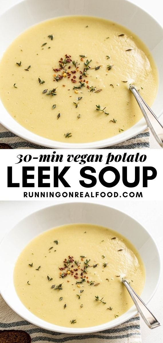 Pinterest graphic with an image and text for vegan potato leek soup.