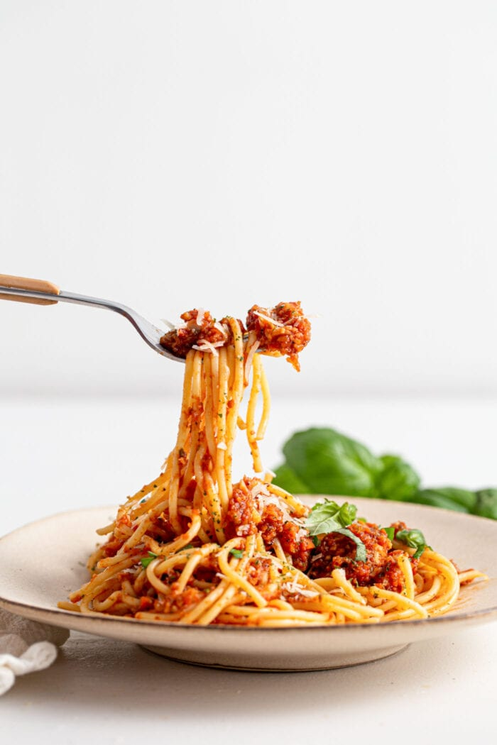 Fork lifting spaghetti and sauce off a small plate.