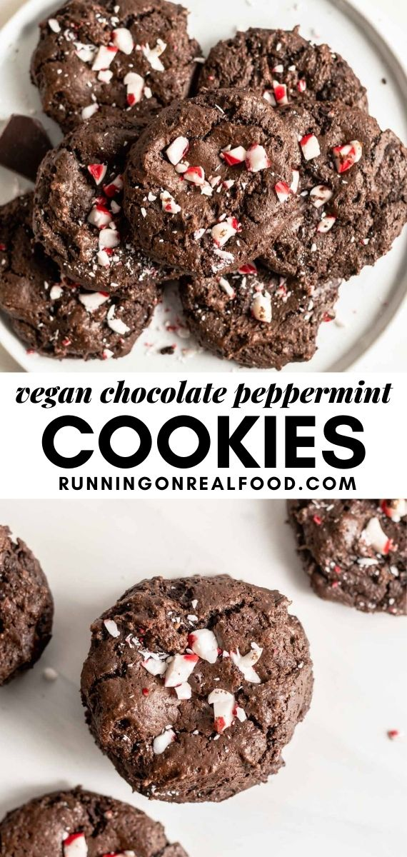 Pinterest graphic with an image and text for chocolate peppermint cookies.