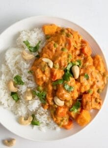 Overhead view of a bowl of korma and rice topped with cilantro and cashews.