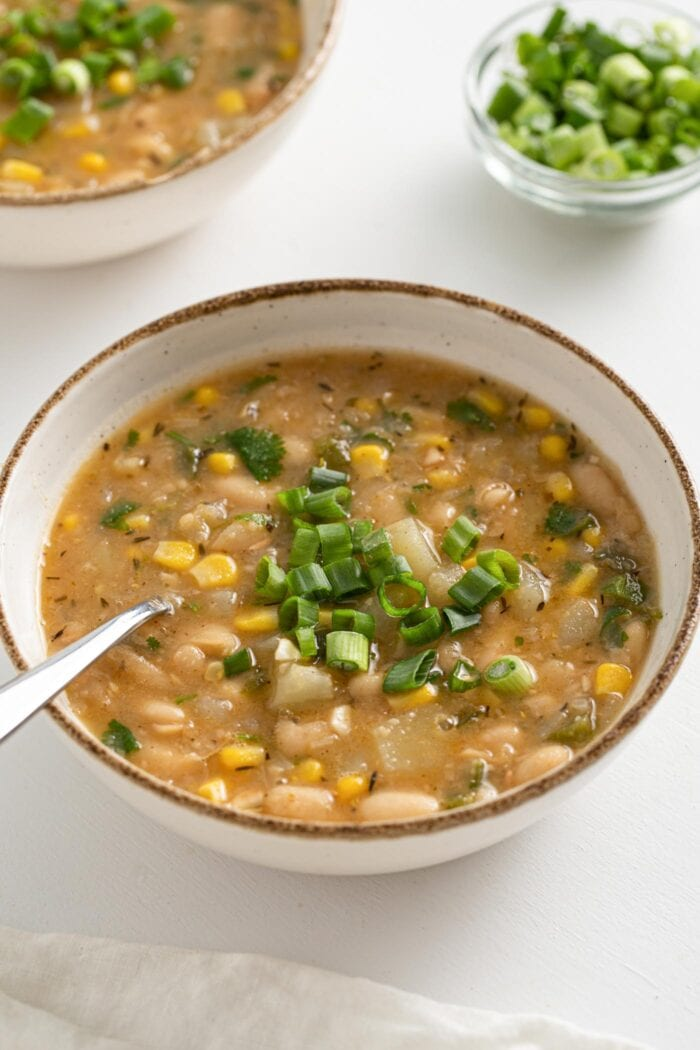 Bowl of white chili topped with sliced scallions.