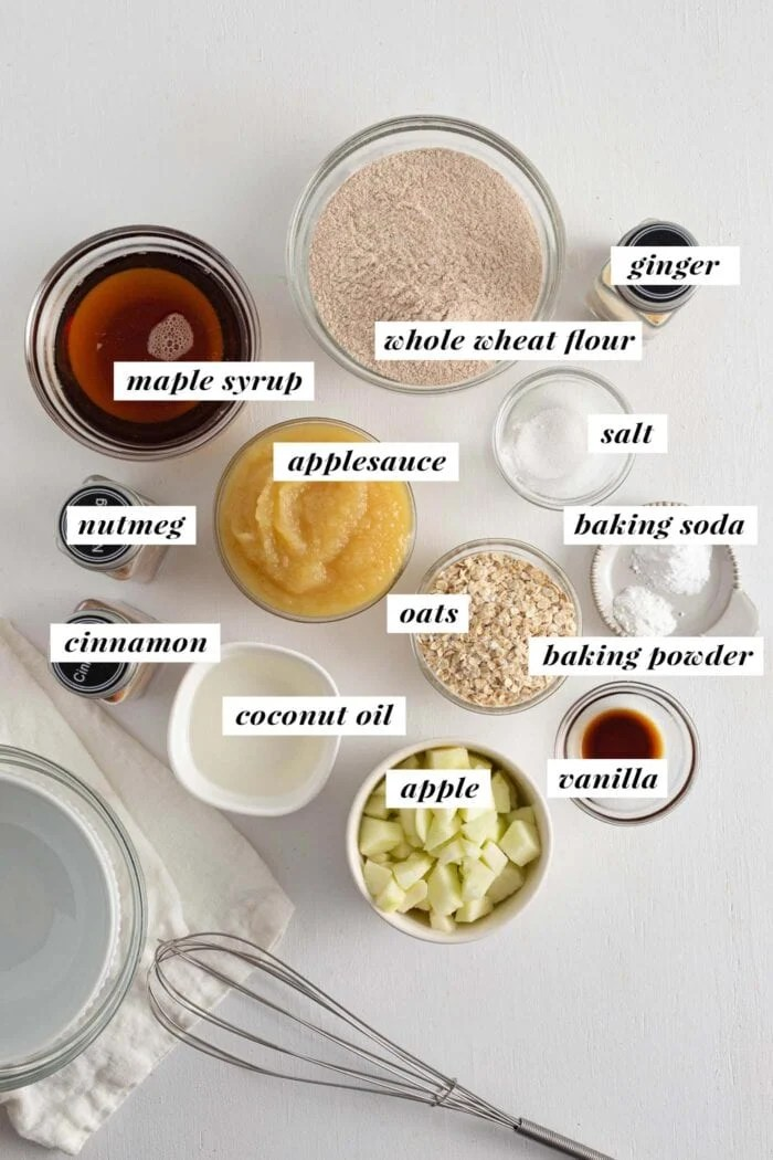 Visual of ingredients needed for making applesauce muffins. Each ingredient is labelled with text overlay.