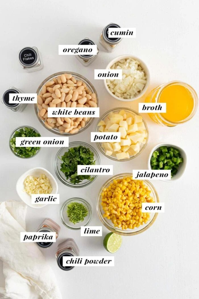 Visual of all ingredients needed for making white bean chili.