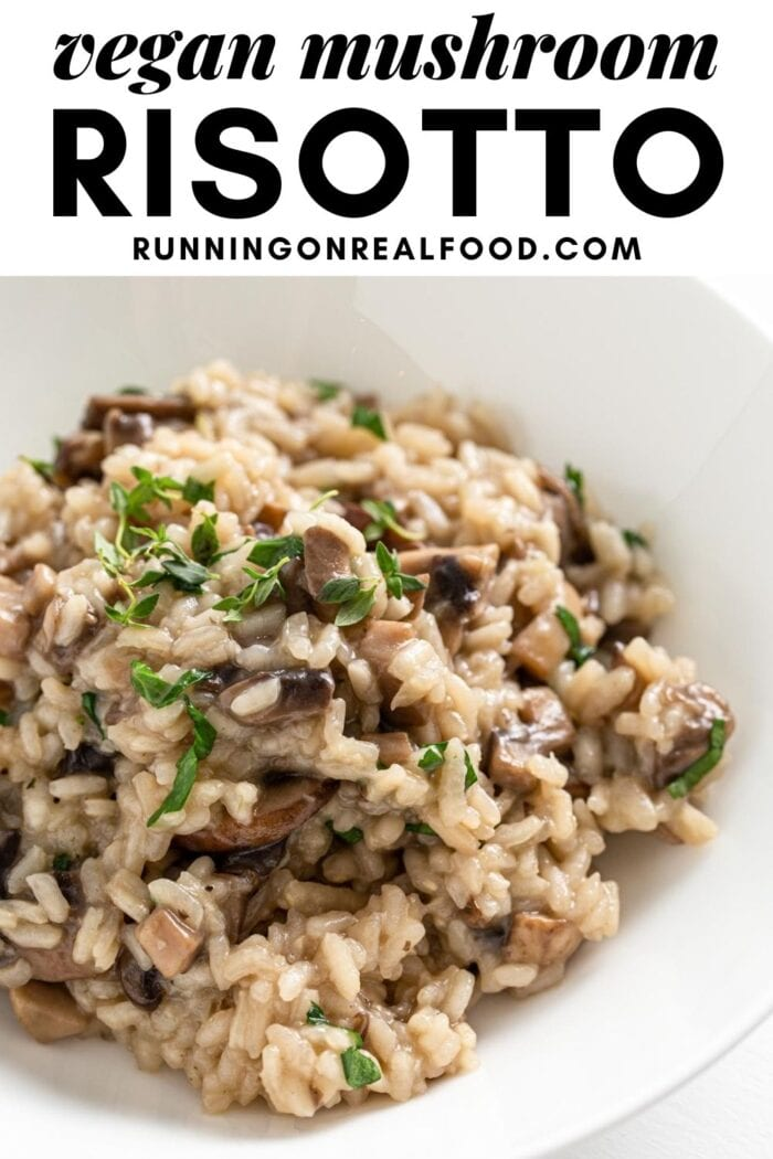 Pinterest graphic with an image and text for vegan mushroom risotto.