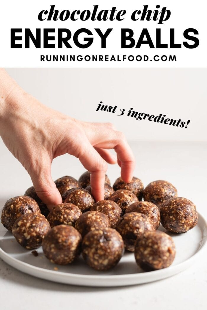 Pinterest graphic with an image and text for chocolate chip energy balls.