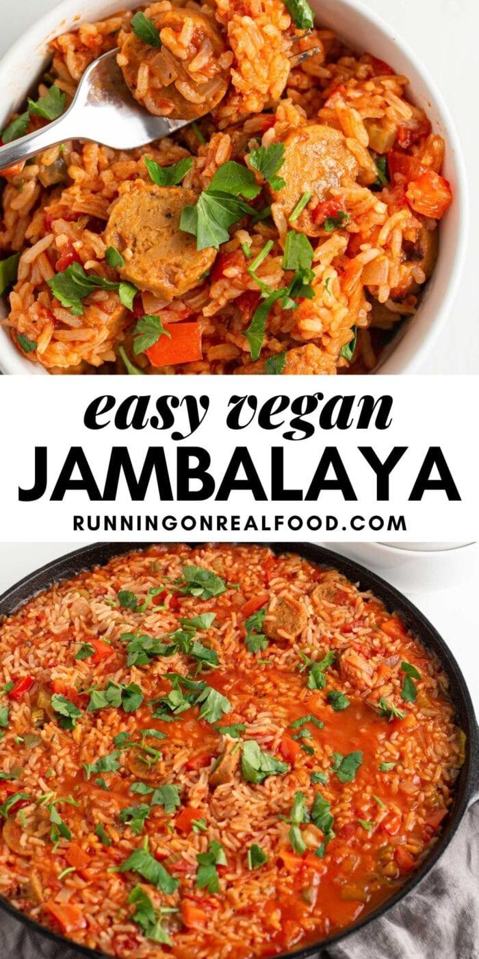 Pinterest graphic with an image and text for vegan jambalaya.