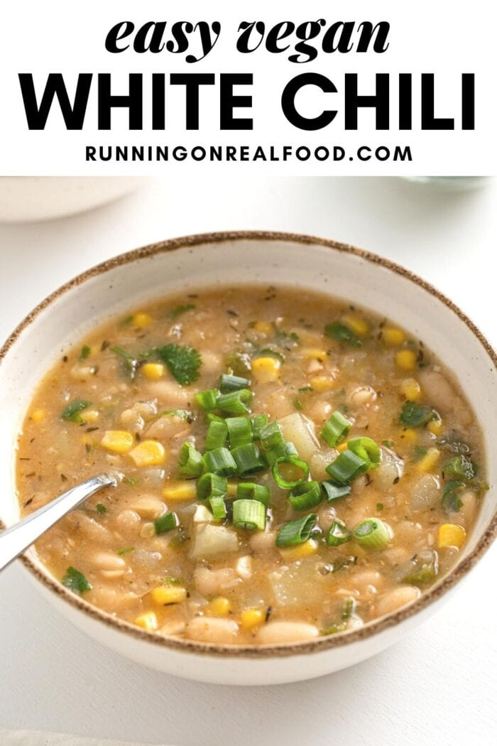 Pinterest graphic with an image and text for white bean vegan chili.
