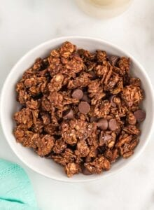 Overhead view of chocolate chip granola in a bowl.