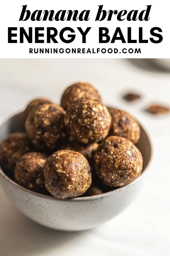 Pinterest graphic with an image and text for banana bread balls.
