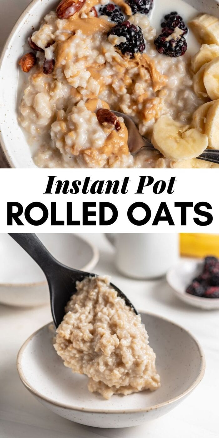 Pinterest graphic with an image and text for Instant Pot oatmeal.