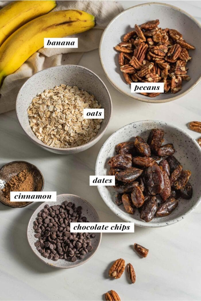 Visual of all ingredients needed for making no-bake banana bread balls. Each ingredient is labelled with text.