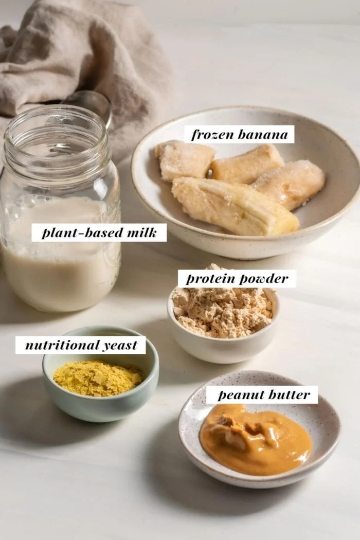 Visual of list of ingredients needed for making a peanut butter protein shake.