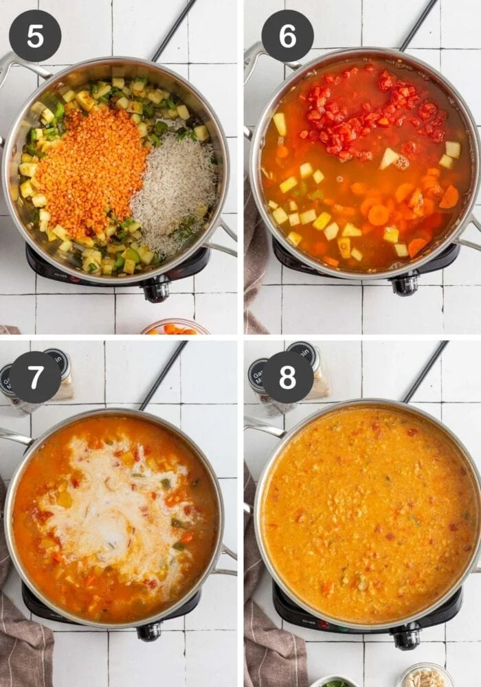 Visual of step by step instructions for making mulligatawny soup.