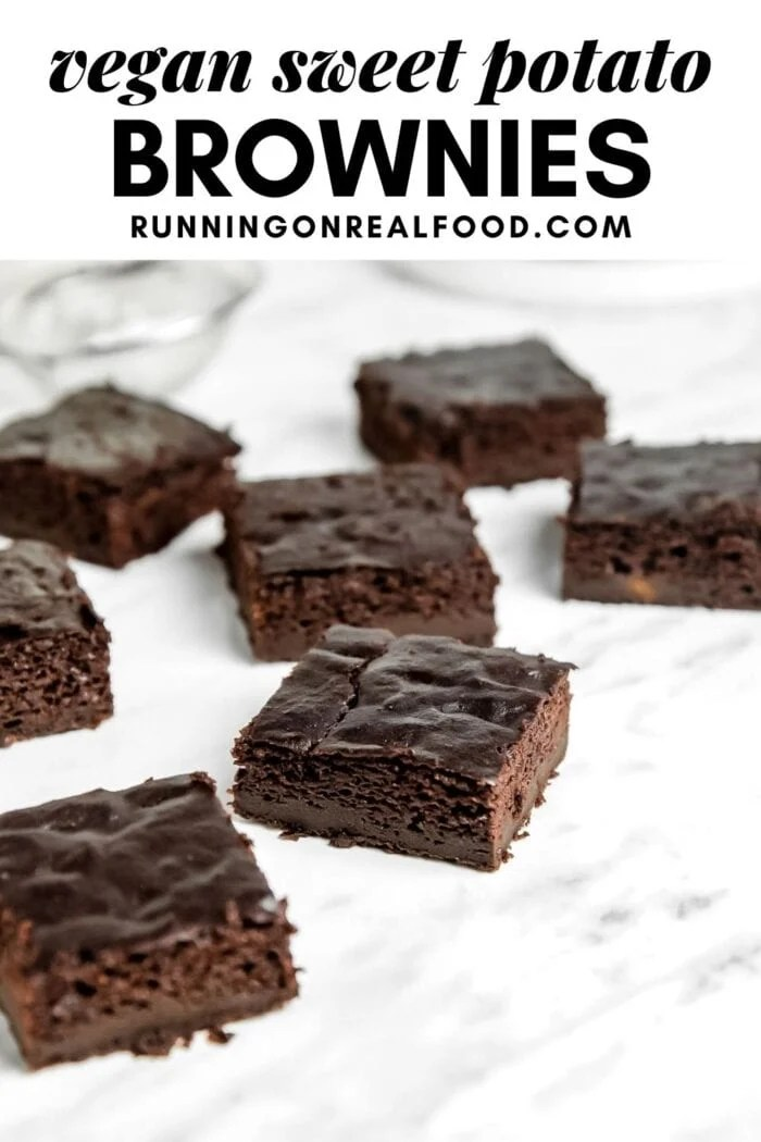 Pinterest graphic with an image and text for sweet potato brownies.