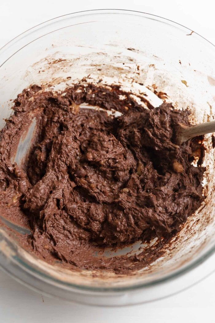 Thick chocolate batter in a mixing bowl.