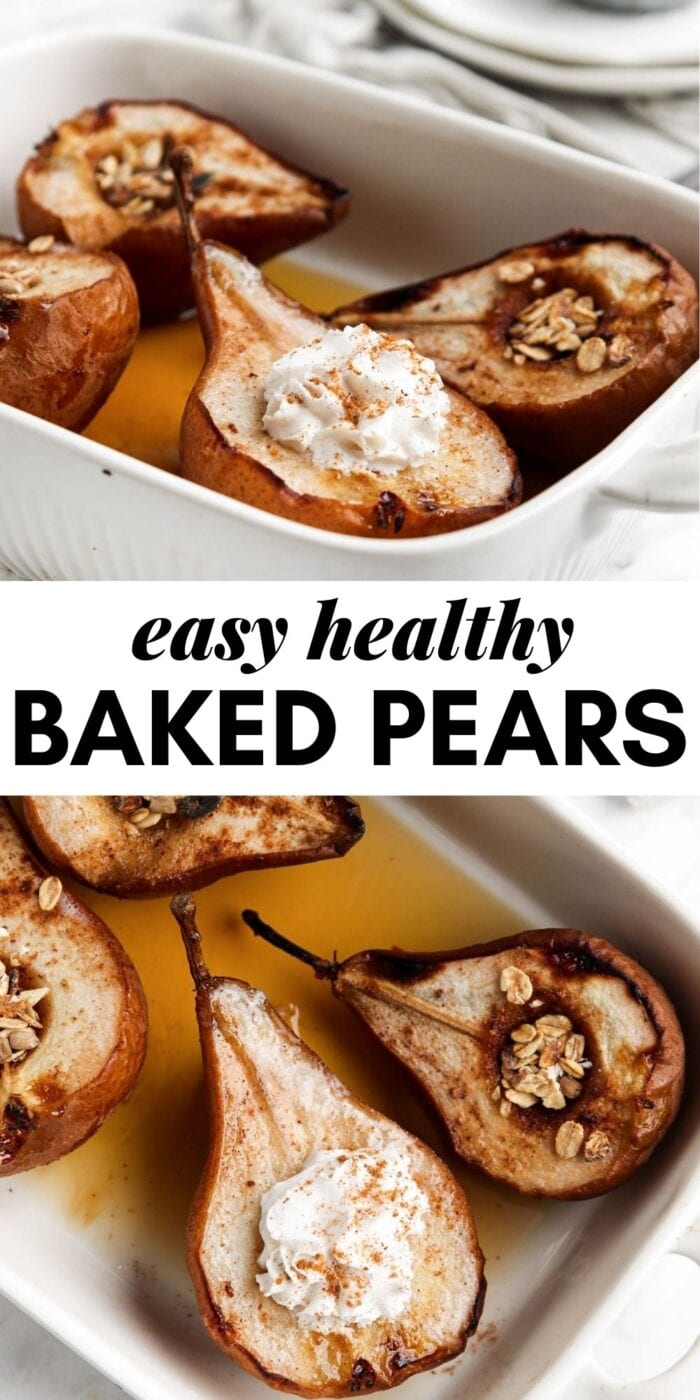 Pinterest graphic with an image and text for baked pears.