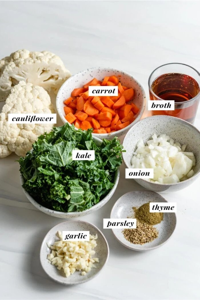 Visual of ingredients needed for making kale cauliflower soup.