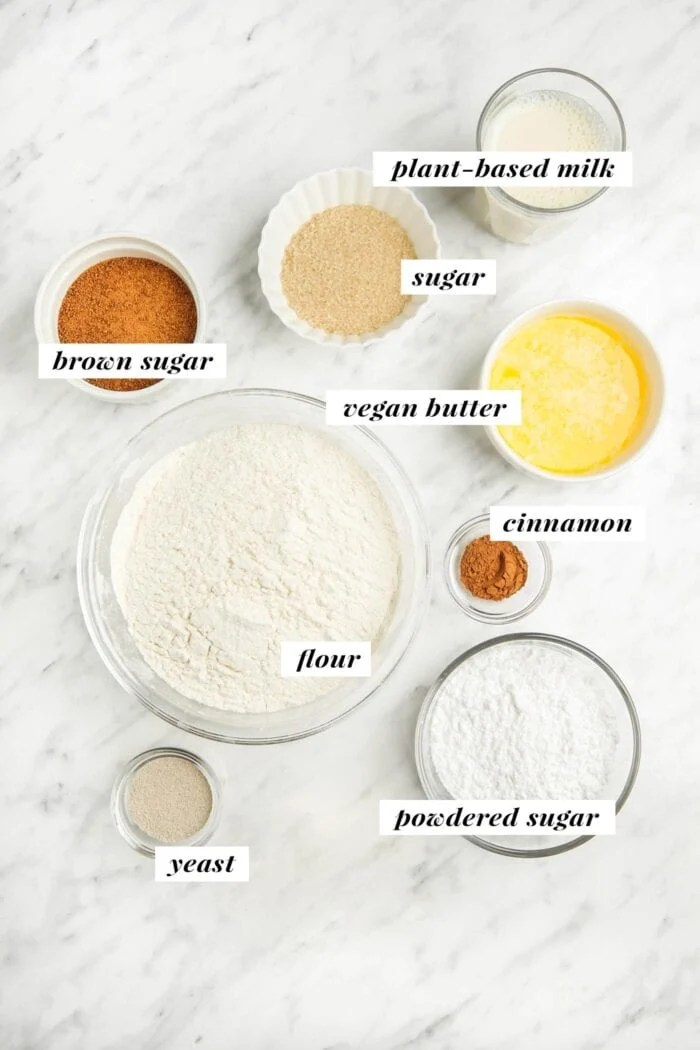 Visual of ingredients for making vegan monkey bread labelled with text overlay.