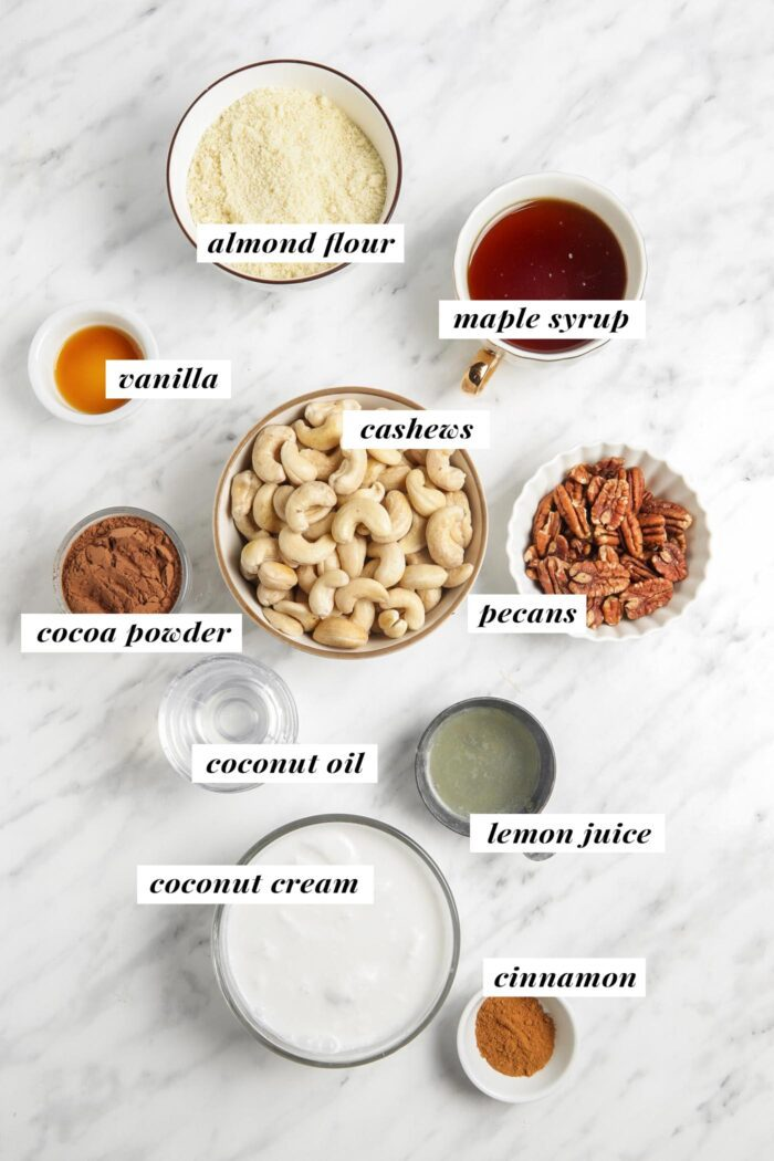 Visual of ingredients needed for making a chocolate no-bake cheesecake. Each ingredient is labelled with text.