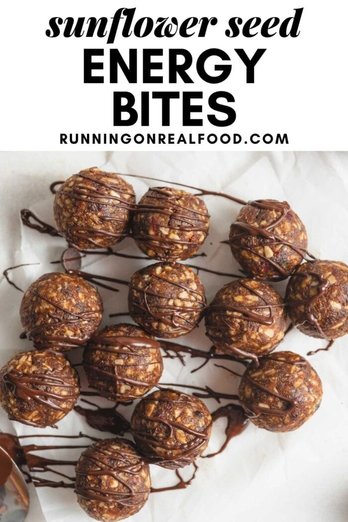 Pinterest graphic with an image and text for sunflower seed energy bites.