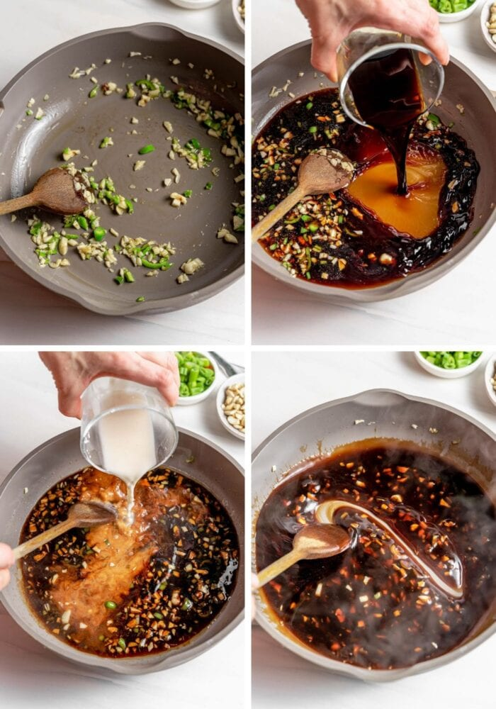 Visual step by step instructions for making kung pao sauce in a skillet.