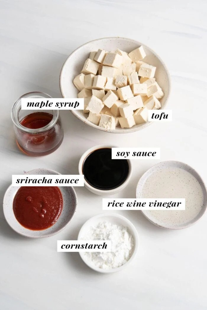 Visual of ingredients needed for making a sweet and spicy tofu recipe.