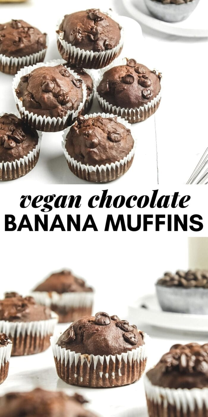 Pinterest graphic with an image and text for chocolate banana muffins.