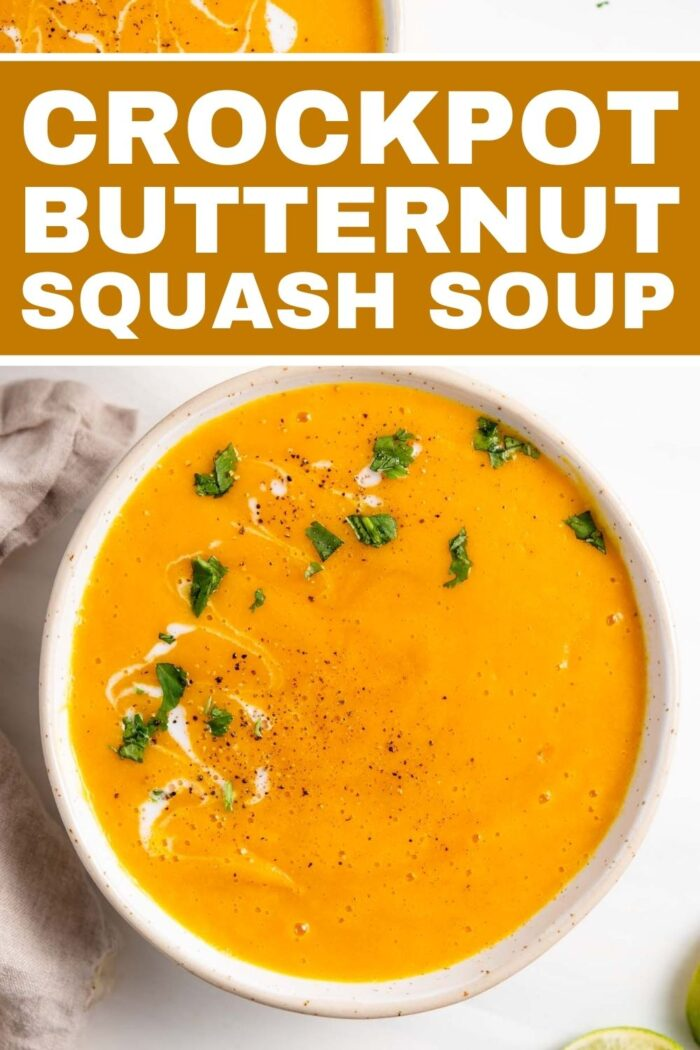 Pinterest graphic with an image and text for butternut squash soup.