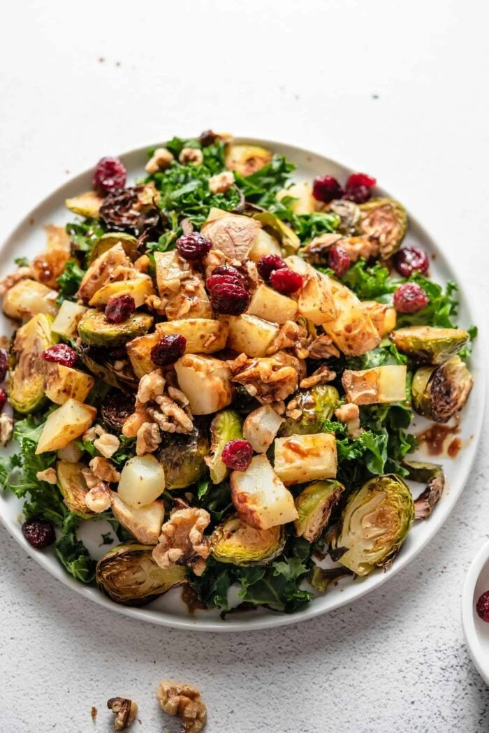 Overhead view of a colourful kale salad with brussels sprouts, cranberries and walnuts.