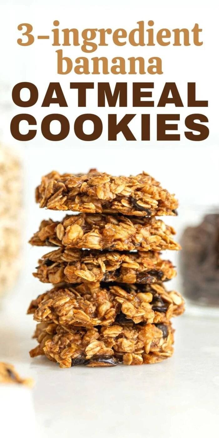 Pinterest graphic with an image and text for healthy banana oatmeal cookies.