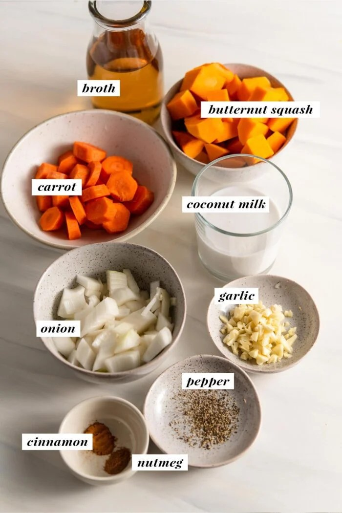 Visual list of ingredients for making butternut squash soup labelled with text overlay.