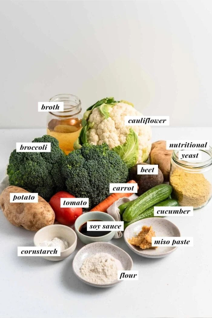Visual of ingredients labelled with text overlay for making vegan dragon bowls with miso gravy.