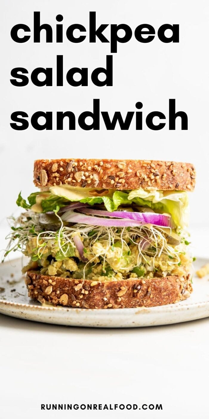 Pinterest graphic with an image and text for chickpea salad sandwich.