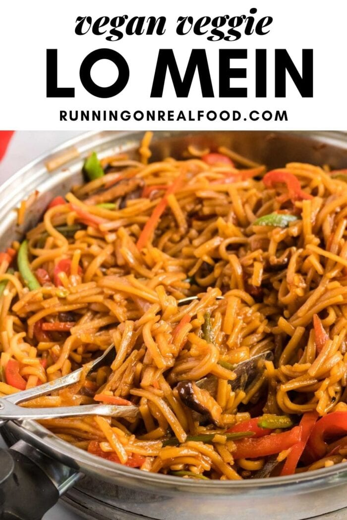 Pinterest graphic with an image and text for vegan lo mein.
