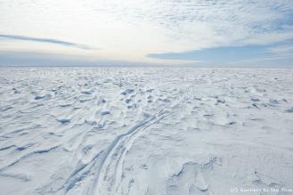Kilomètre après kilomètre, jour après jour, nous traçons notre chemin vers le pôle Sud. Une ligne droite - autant que possible - et très éphémère. Le vent aura bientôt effacé les traces de notre passage.