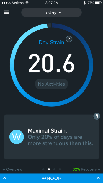 my Whoop monitor rating my 20 mile day at max strain :O