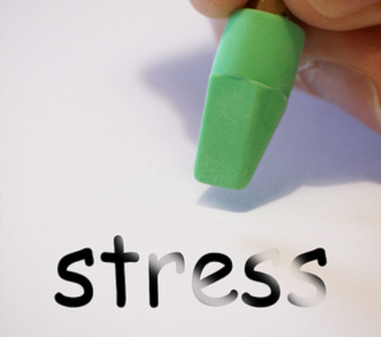 "Pencil erasing the word ""stress"""
