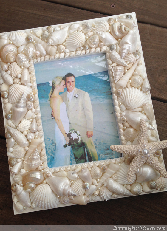 Seashell Picture Frame Running With Sisters