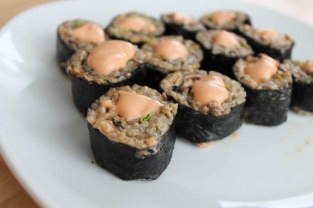 recipe brown rice and lentil sushi close