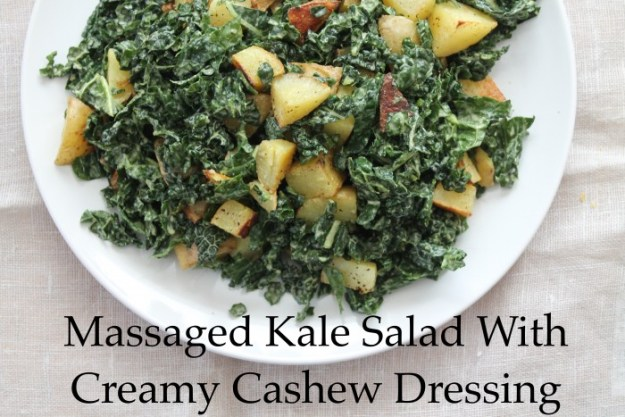 Massaged Kale Salad With Creamy Cashew Dressing | Running With Tongs