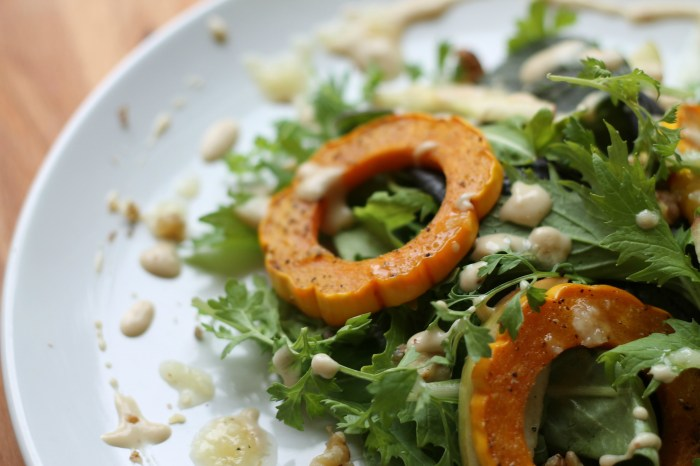 [RECIPE] Roasted Delicata Squash Apple Walnut Salad with PEPPERGREENS | Running With Tongs