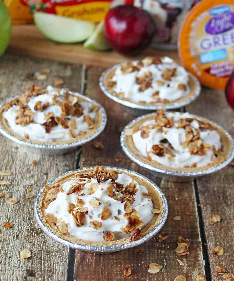 No Bake Apple Pear Plum Yogurt Crumble Pie