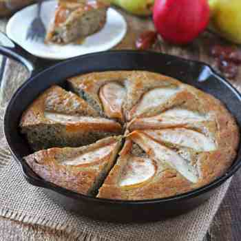 This Pear and Date Skillet Cake whips up in the Blender and is Gluten-Free, Refined Sugar-Free, and Dairy Free.