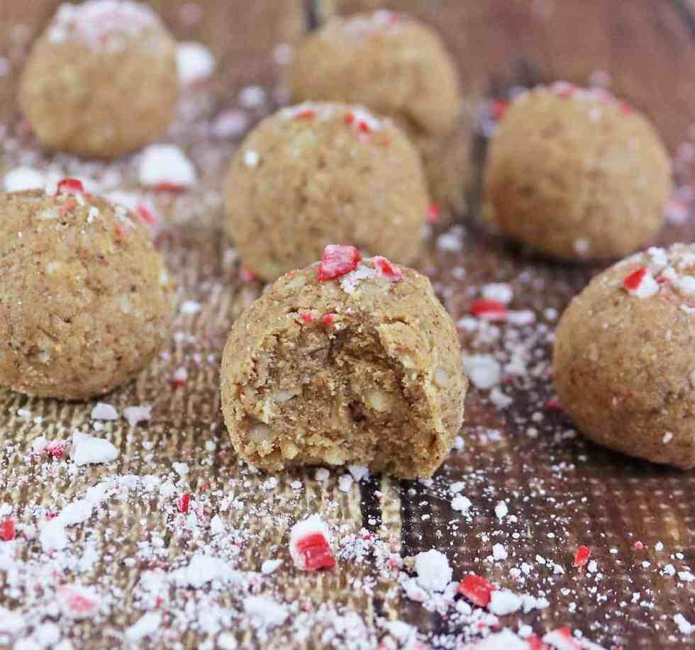 Peppermint White Chocolate Protein Bites