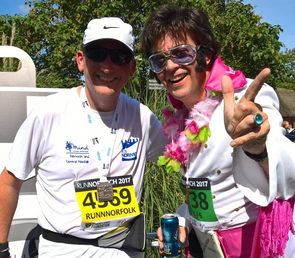 Runnorfolk blogger Shaun Lowthorpe with Elvis at the end of the Run Norwich race