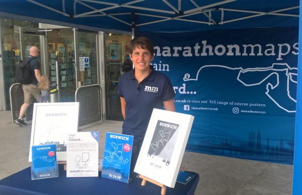 Nicola Cage marathonmaps at the Run Norwich expo. Picture by Runnorfolk blogger Shaun Lowthorpe
